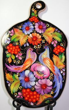 Petrykivka style, hand painted Cutting board Russian Folk Art