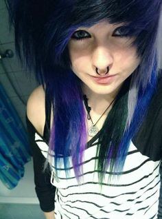 Blue, Purple, and Black. ♥♥ not that style but the colors