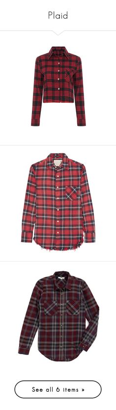 """""""Plaid"""" by jenwolf2121 ❤ liked on Polyvore featuring tops, shirts, crop tops, long sleeved, red, red checkered shirt, long sleeve crop shirt, long sleeve crop top, cut-out crop tops and red long sleeve shirt"""