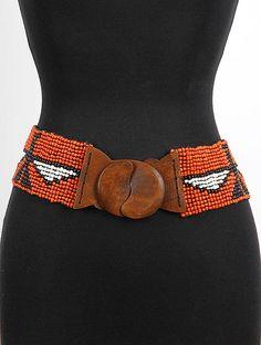Eagle Printed Bead Belt