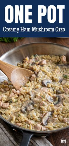 One Pot Creamy Ham Mushroom Orzo - a creamy dish of tender pieces of ham with mushrooms all ready and on the table is less than 30 minutes. Orzo Recipes, Pasta Dinner Recipes, Dinner Dishes, Diet Recipes, Cooking Recipes, Healthy Recipes, Recipies, Skinny Recipes, Healthy Meals