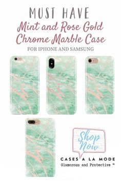 Love this gorgeous mint pink gold marble cell phone case! Glamorous and protective mint rose gold chrome marble iPhone and Samsung phone case with a front raised lip to protect your screen in a matte finish. The perfect smartphone mobile device Phone Cases Marble, Marble Case, Girly Phone Cases, Phone Covers, Samsung Cases, Iphone Cases, Iphone Phone, Gifts For Techies, Techie Gifts