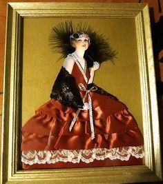Framed Ribbon Lace Art Deco Flapper Lady Doll Boudoir Picture | eBay