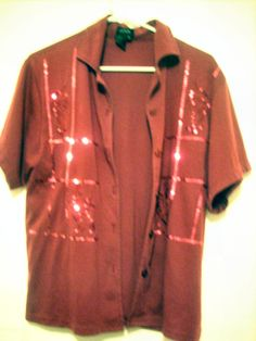 Embroidered and embellished Burgundy Shirt Size M/L $6.99 shipped