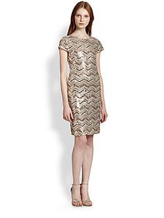 too much?? [Alice + Olivia Taryn Zigzag Sequined Dress $358.20]