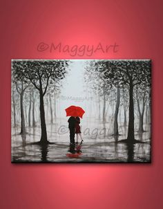 original abstract paintingred umbrella home decor by maggyart