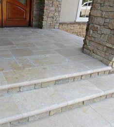Porch front steps Design Ideas, Pictures, Remodel and Decor Front Porch Steps, Front Stoop, Front Porch Design, Screened In Porch, Front Deck, Porch Tile, Porch Flooring, Outdoor Flooring, Stone Flooring