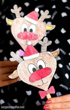Paper Reindeer Craft With Printable Template - Rentier basteln Christmas Card Template, Printable Christmas Cards, Holiday Cards, Fun Crafts, Paper Crafts, Simple Crafts, Reindeer Craft, Hobbies For Kids, Kindergarten Crafts
