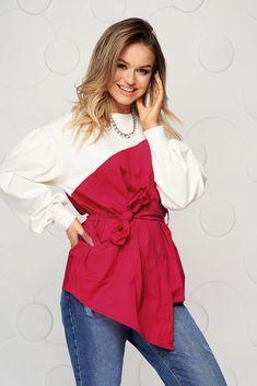 Super in tendinte si colorata, aceasta bluza este ideala pentru tinutele casual. Cu siguranta vei iesi in evidenta datorita croiului asimetric si o funditei. Bell Sleeves, Bell Sleeve Top, Ruffle Blouse, Shopping, Tops, Women, Fashion, Moda, Fashion Styles