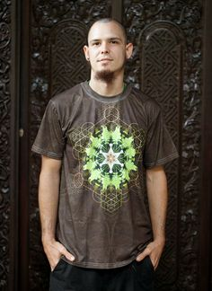 Mycelium Fern // Men's cotton T-shirt // Mandala Shirt // Sacred Geometry Shirt / Crystalotus Shirt / Shirt, psychedelic tee, festival shirt