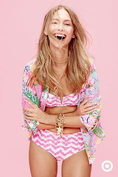 Pink pineapples make up an unexpected chevron print for a bikini. You heard that right, pink pineapples. Mix it with a floral button down for the ultimate fresh and fun print combo. Get both when Lilly Pulitzer for Target launches on April 19.