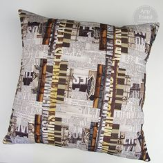 Courthouse Steps Pillow made with Eclectic Elements by Tim Holtz