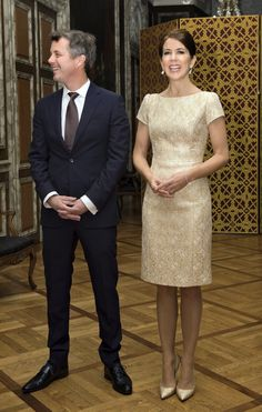 Crown Princess Mary glittered in gold for the dinner held at Christiansborg Palace.