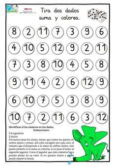 Juego matemático:RECONOCEMOS LOS NÚMEROS EN LOS DADOS SUMAMOS Y RESTAMOS son tres juegos presentados en dos tareas. 1ºJUEGO.Identificar el los números en los dados. 2-4 jugadores 1 o 2 dados. Por turnos tiran los dados, tienen que contar los puntos y pintar, del color escogido por cada uno, el número Spanish 1, Spanish Lessons, Teaching Spanish, Math Lessons, Teaching Math, Math Games, Math Activities, Transitional Kindergarten, Maila