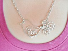 TWEET LITTLE BIRD Wire work Necklace  Choose your own Colors  by RefreshingDesigns, $18.00