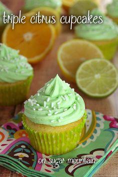 Triple Citrus Cupcakes - On Sugar Mountain