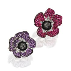 PAIR OF 18 KARAT BLACKENED GOLD, COLORED STONE AND DIAMOND ANEMONE EARCLIPS, MICHELE DELLA VALLE