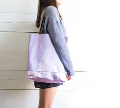 Lavender Leather Shopper, Metallic Pink Leather Tote, Pink Leather Market Bag, Hologram Hobo, Everyday Tote Bag, Mother's Day Gift