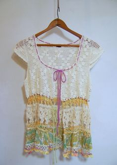 Anthropologie FREE PEOPLE Crochet Vest Top Sz M Tie-Front #FreePeople #KnitTop