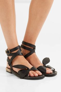 Heel measures approximately 10mm/ 0.5 inches Black leather Buckle-fastening ankle strap Made in Italy