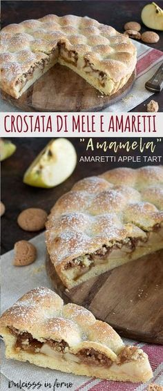Crostata di mele e amaretti con marmellata o Torta Amamela: una ricetta semplice, golosa e genuina, ma anche molto scenografica con la sua superficie a cupolette!  Amaretti Apple Tart recipe Apple Desserts, Healthy Dessert Recipes, Baking Recipes, Delicious Desserts, Cake Recipes, Yummy Food, Happiness Recipe, Amaretti Cookies, Best Italian Recipes