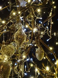 The Winter Branch 2014. Glass baubles sparkle against the night sky.