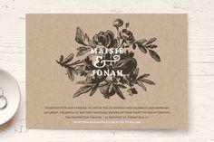 """Love in Bloom"" - Floral & Botanical, Rustic Wedding Invitation Petite Cards in Kraft by R studio."