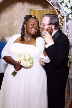 Beautiful interracial couple, Jeff  Bettie, on their wedding day #love #bwwm #wmbw