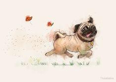 «The Furminator pug watercolor like art» de Thubakabra