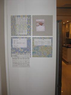 Fabric Covered Tile Cork Boards for side of Fridge