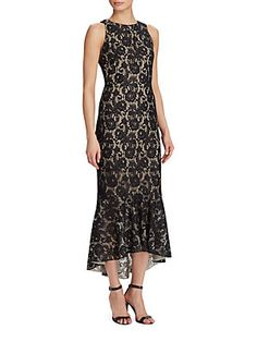 Lauren Ralph Lauren Floral Lace High-Low Dress-$210.00