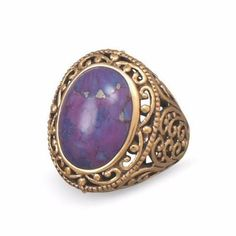 Bronze and Reconstituted Dyed Purple Turquoise Ring