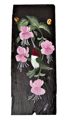 Painted Slate Hummingbird in Fuschia by #etsy #dteam WhatsInGrampasShack, $ 20.00