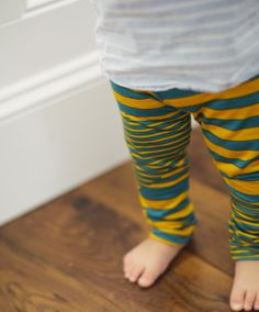 Image of Variegated Stripe Legging in Mustard + Teal