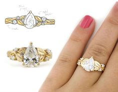 A nature inspired engagement ring in yellow gold with a pear shaped diamond and engraved leaf band. Made by custom jewelry designer Abby Sparks Jewelry in Denver, Colorado. Perfect Engagement Ring, Custom Jewelry Design, Pear Shaped Diamond, Designer Engagement Rings, Wishful Thinking, Jewelry Making, Band, Dresses, Vestidos