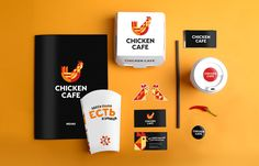 Brandon Archibald - Chicken Cafe - World Brand Design Society / Client: New cafe offering fast-food mostly done from chicken and eggs.Challenge: The design of logo, corporate identity, printed goods, branded elements and also the interior branding. Restaurant Logo Design, Food Logo Design, Food Truck Design, Logo Food, Brand Identity Design, Branding Design, Ci Design, Cafe Branding, Food Branding