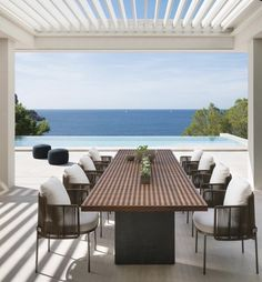 Modern Outdoor Dining Sets, Outdoor Dining Furniture, Outdoor Spaces, Outdoor Living, Outdoor Decor, Dining Table, Dining Area, Outdoor Chairs, Terrace Design