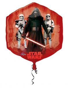 Pallone in alluminio rosso e blu Star Wars VII™: per la tua serata a tema Star Wars, episodio VII™ allestisci una decorazione d'ambiente perfetta e non farti mancare questo maxi pallone d'alluminio con l'effigie di alcuni protagonisti del film Il risveglio della forza™.