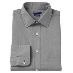 Men's Croft & Barrow® Slim-Fit Checked Broadcloth Dress Shirt, Size: 16.5-34/35, Black