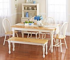 New White Dining Room Set Bench. This Country Style Dining Table Chairs Set 6 Is Solid Oak Wood Quality Construction. A Traditional Dining Table Set Inspired By Farmhouse Antique Furniture Look. Kitchen Table Chairs, Dining Furniture Sets, Dining Table With Bench, Solid Wood Dining Chairs, Dining Room Chairs, A Table, Antique Furniture, Room Kitchen, Kitchen Dining