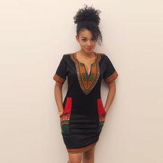Robe coton noir dashiki by AfricanStyleAS on Etsy