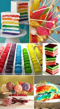 Ya know what's better than tasty sweets? Rainbow-colored tasty sweets! Mmmm...Italian Rainbow Cookies are my ultimate favorite, but here are some other pretty delicious looking rainbow-colored desserts to inspire you...(Hint: Read to the bottom for recipe links!!!)Image CreditsWisk Kid (hint: there's a recipe here)Amy AtlasPretty Pretty Yum YumMangia Bene Pasta (recipe here too)My Recipes (ooo one here too)Hostess with the Mostess (and a tutorial here)