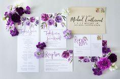 Lavender amethyst violet wedding stationery by Sommer Letter Co.