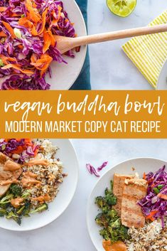 This recipe is a take on the Modern Market Buddha Bowl recipe. Marinated tofu, a crunchy slaw, crisp broccoli, with a peanut sauce, makes this one of the most delicious and healthy meals you'll ever make! Easy Vegan Dinner, Vegan Dinner Recipes, Tofu Recipes, Vegan Dinners, Vegetarian Recipes, Cooking Recipes, Healthy Recipes, Healthy Meals, Delicious Recipes