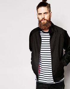 ASOS – Schwarze Harrington-Jacke mit Stehkragen