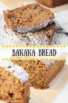 Extra bananiges Banana Bread mit braunem Zucker, knackigen Walnüssen und doppelt Schokolade via @heissehimbeeren