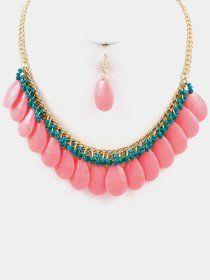 Teardrop Stone Beaded Necklace Set