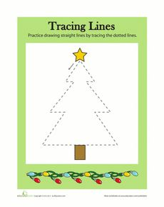 Tracing Lines Christmas  Worksheets School and Activities