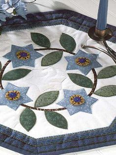 Quilting - Home Decor - Table Topper Quilt Patterns - Yo-Yo Star Flowers Quilted Candle Mat Pattern - #FQ00094