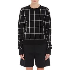 Chloé Plaid Shrunken Sweater (73.685 RUB) ❤ liked on Polyvore featuring tops, sweaters, multi, plaid sweater, black white top, black and white tops, banded bottom tops and chloe top